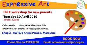 poster - expressive art workshop 30 April 2019
