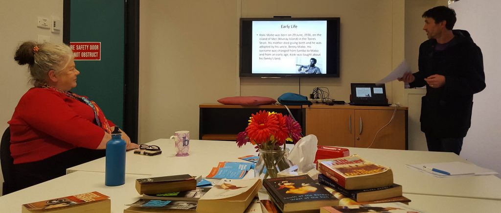 The JNC's Mabo Day presentation, with books for the Great Book Swap in the foreground