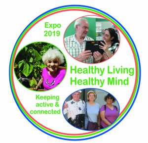 Expo Image - older people enjoying walking, computer learning and gardens