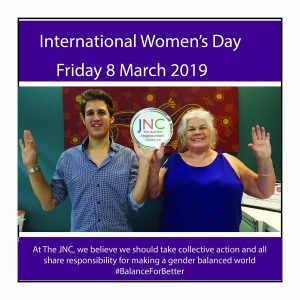 International Women's Day photo from The JNC with two staff members
