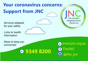 poster about JNC support for our community's wellbeing during coronavirus