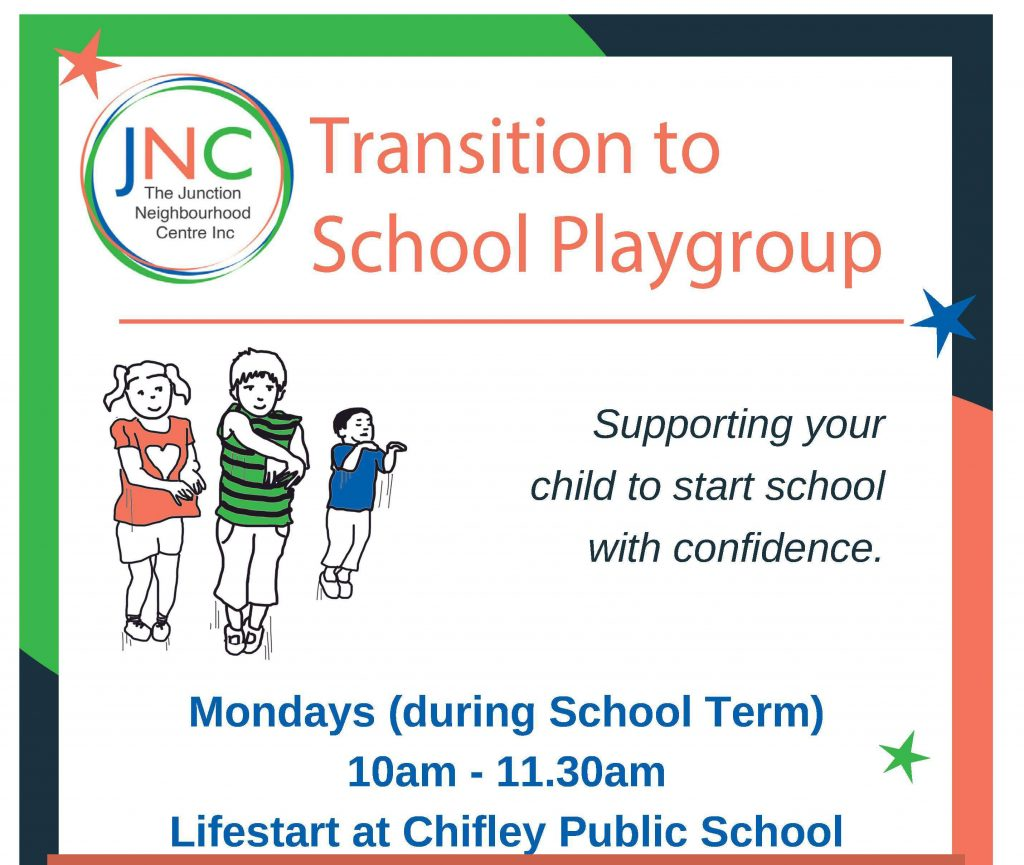 JNC transition to school playgroup poster to support parents and carers