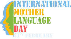 poster for International Mother Language Day with illustration of faces