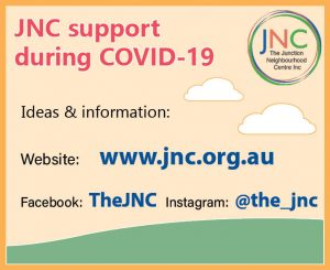 poster showing JNC contact details for information on staying safe during COVID-19