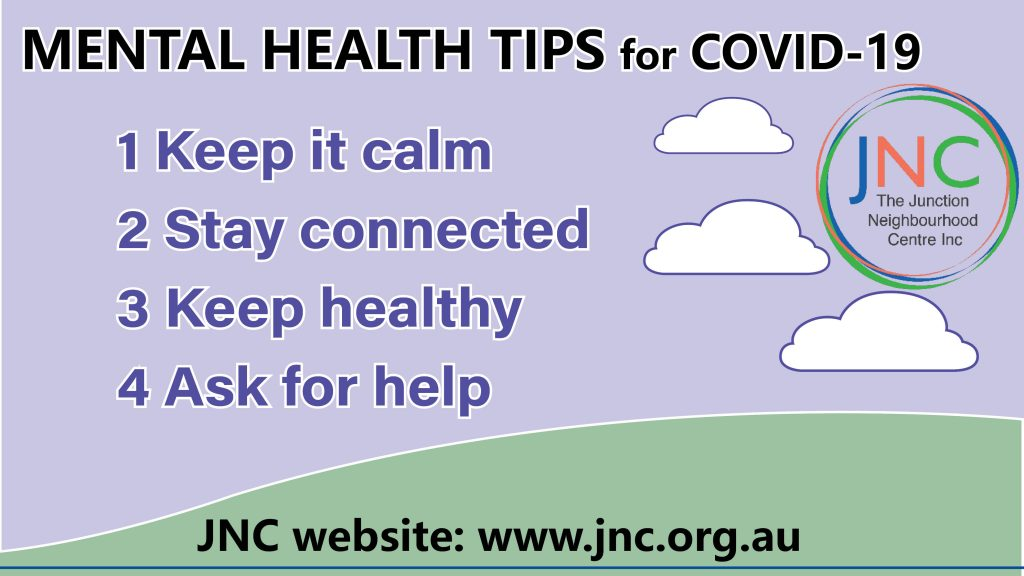 poster with JNC's mental health tips for COVID-19