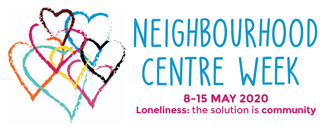 Neighbourhood Centre Week logo, with image showing connected hearts in different colours and the NCW slogan