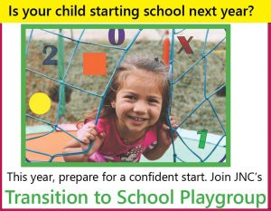 poster advertising JNC's Transition to School Playgroup