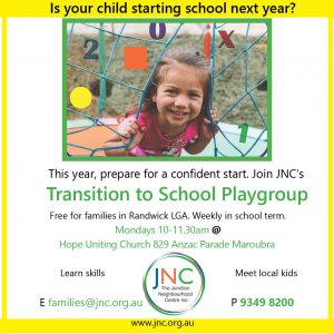 poster for JNC supported playgrous Transition to School 2021