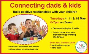 poster on workshop series  to feel good with JNC - how dads can connect with kids